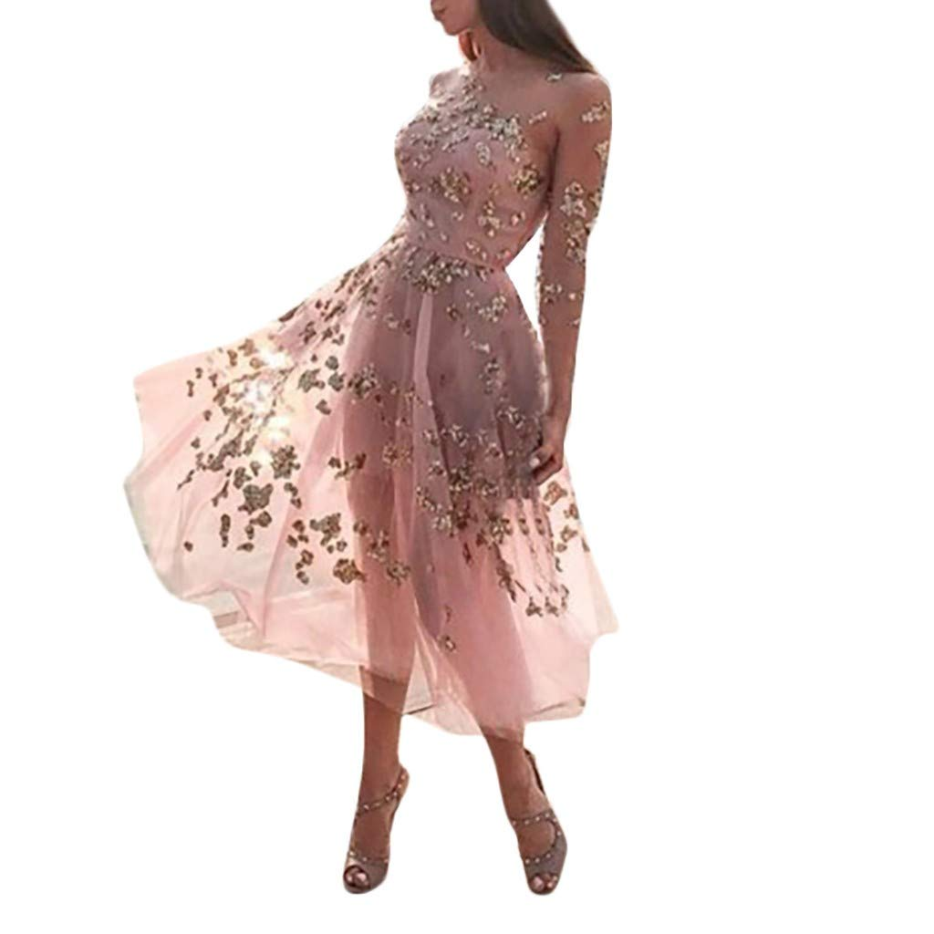 Women Sexy Strapless Foral Printed Sequined Long Sleeve Cocktail Party Dress Fashion Autumn Comfort Sundress Daorokanduhp Pink
