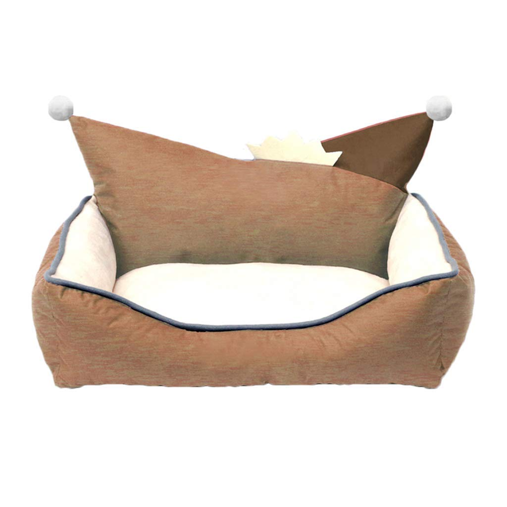 60x50x21cm KYCD Dog Nest,Dog Bed,Soft Washable Warm Pet Sofa Cat Bed Cushion with EPE Pearl Cotton Lining,Four Seasons Usable,for Small Medium Dogs, Non-slip Oxford Cloth,Khaki (Size   60x50x21cm)