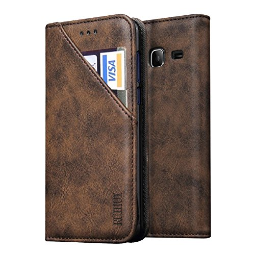 Galaxy J3 Emerge /J3 Prime /J3 2017/Amp Prime 2 /Express Prime 2/J3 Mission /J3 Eclipse /J3 Luna Pro /Sol 2 Case,RUIHUI Classic Wallet Flip Leather Protective Case with Stand and Card Slots (Coffee) (Feat Card)
