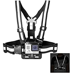 Fantaseal Action Camera Chest Mount Hi-Reflective Safety Vest for GoPro Chest Mount Harness Chesty Vest GoPro Strap Mount for GoPro Hero 5 / 4 / 3+ / More Action Cam ( Small Size, Fluorescent Black)