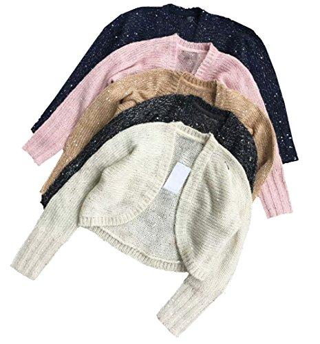 eKooBee Little Big Girls Long Sleeve Sweater Cardigan Sequin Knit Shrug Outerwear