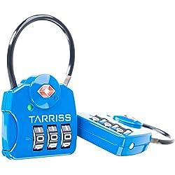 TSA Lock w/ SearchAlert Blue by Tarriss, 2 Pack TSA Luggage Locks /