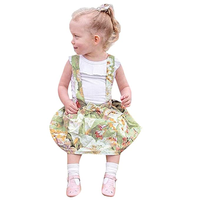 a68ba00901b Zerototens Baby Girls 2Pcs Clothes Kids Sleeveless Solid Ruffles T-Shirt  Tops Overall Floral Skirt