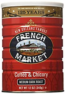 French Market Coffee & Chicory, Medium-dark Roast, Creole Roast, 12-ounce Cans (Pack of 3)