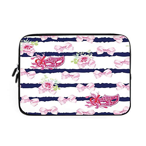(Masquerade Laptop Sleeve Bag,Neoprene Sleeve Case/Venetian Style Carnival Masks on Stripes with Satin Bows Roses Flowers/for Apple MacBook Air Samsung Google Acer HP DELL Lenovo AsusPink)