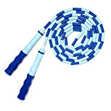 EAGLO Jump Ropes for Men, Women, kids Adjustable - Skipping Rope with Plastic Beaded Segmentation - Boxing MMA Fitness Training Workout - 8.8ft Blue