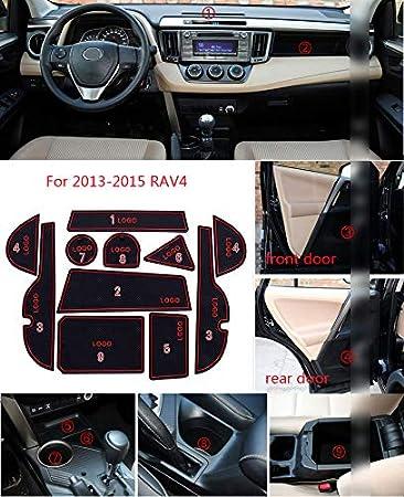 Muchkey Pacco da 11 Zerbino antiscivolo antipolvere Arm Box Bianca Per 2013 2014 2015 RAV4 per portiere interne tazze