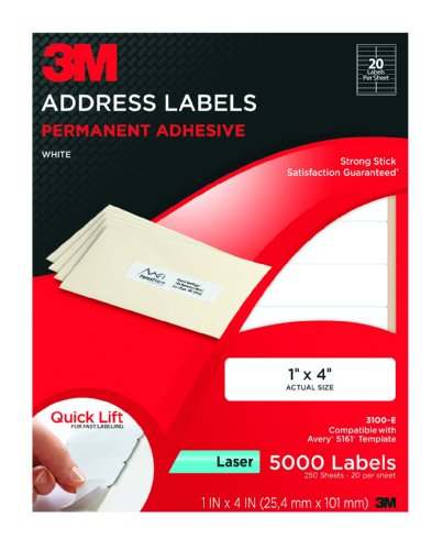 3M Permanent Adhesive Address Labels, 1 x 4 Inches, White, 5000 per Pack (3100-E)