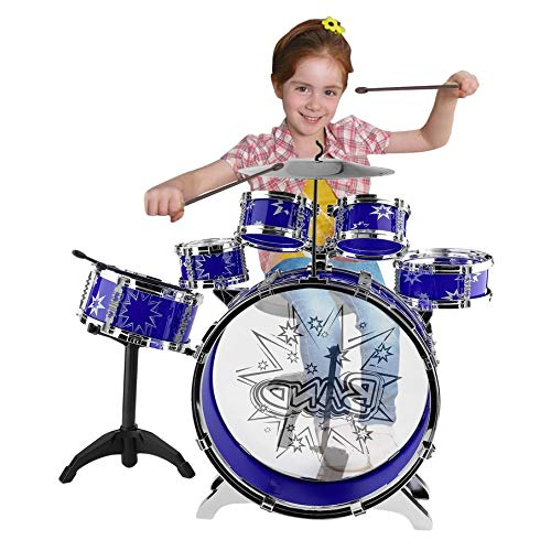 Mini Kids Junior Drum Kit Children Tom Drums Drumsticks Set For Toddlers Gift With Stool (Blue) by IOOkME-H