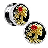 TOPBRIGHT® Skeleton Cameo Screw Fit Plugs Stainless Steel Double Flare Plugs 2G-16mm (2 Pieces)