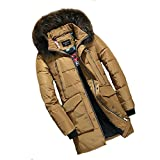 YANXH The New Men Down Jacket In The Long Section Leisure Coat Can Off Unloading Cap , khaki , L