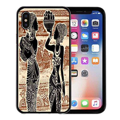 (Semtomn Phone Case for Apple iPhone Xs case,Woman Beautiful African Girl of Landscape Africa America American for iPhone X Case,Rubber Border Protective Case,Black)