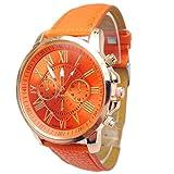 Baishitop Women Luxury Watch,Roman PU Leather,Numerals Analog Quartz Wrist Watch,Three Six-Pin (Orange)