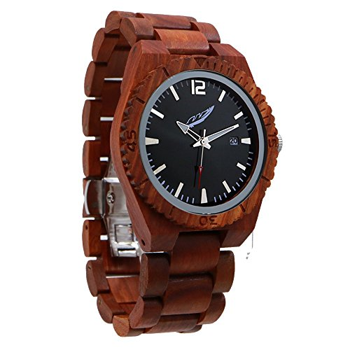 Wilds Memory Men's Wood Watch – Stylish, Durable, Interchangeable Wooden Wrist Watch Band, Wood Bezel, Japanese Analog Quartz Movement, Fashion Accessories Gift for Him, Best Wood - Barrel Whiskey Sunglasses