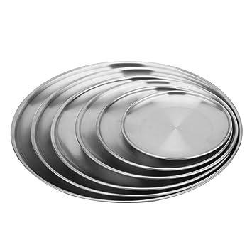 Plato de acero inoxidable, juego de 6 platos llanos ...