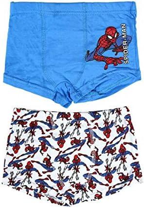 Unterhosen Boxer Jungen Spiderman Marvel Avengers | 100% Weiche Baumwolle | Packung mit 2 Stück | 3-4 - 6 Jahre