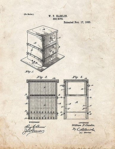 Bee Hive Patent Print Art Poster Old Look (8.5