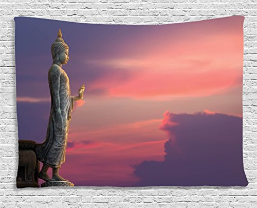 Tapestry Wall Asian (Ambesonne Purple Tapestry Asian Decor, Large Statue in Magical Pink Sunset Scene Nature Meditation Decorative Picture, Bedroom Living Room Dorm Wall Hanging Art, 60 W X 40 L, Purple Pink Grey)