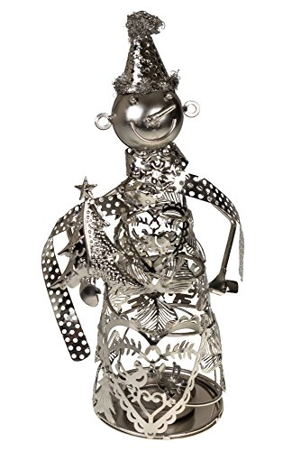 Clever Creations Smiling Snowman Shaped Decorative LED Candle Holder Metal Design Fits Any Decor Theme | Includes LED Light String | Stainless Steel | Measures 5