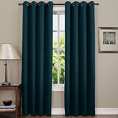 "Sun Zero Leighton Crushed Texture Energy Efficient Grommet Curtain Panel, 50"" x 84"", Teal - Crushed fabric provides unique crinkled texture Room Darkening technology blocks out some unwanted light while enhancing privacy Energy efficient design reduces energy lost through your windows by up to 25% - living-room-soft-furnishings, living-room, draperies-curtains-shades - 51HutqPL9PL. SS400  -"