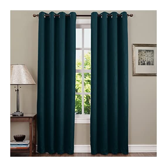 "Sun Zero Leighton Crushed Texture Energy Efficient Grommet Curtain Panel, 50"" x 84"", Teal - Crushed fabric provides unique crinkled texture Room Darkening technology blocks out some unwanted light while enhancing privacy Energy efficient design reduces energy lost through your windows by up to 25% - living-room-soft-furnishings, living-room, draperies-curtains-shades - 51HutqPL9PL. SS570  -"