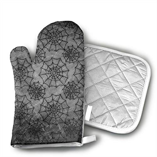 KEIOO Halloween Spider Web Oven Mitts and Potholders Heat Resistant Set of 2 Kitchen Set Non-Slip Grip Oven Gloves BBQ Cooking Baking Grilling]()