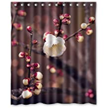"LOVELIFE Apricot Flower Bud Spring Nature Twigs Tree Custom Shower Curtain 60""X 72"""