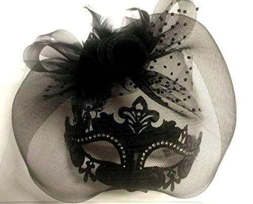 KBW Global Corp Women's Black Fancy Mask Laser Cut Clear Rhinestones Mardi Gras Feathers Veil ()