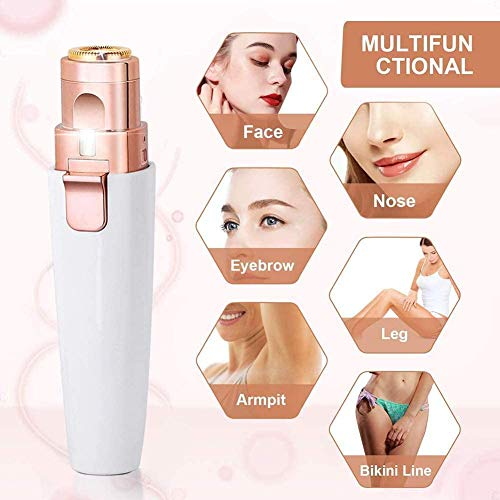 Facial Hair Remover for Women, Xndryan 2-in-1 Facial Trimmer & Eyebrow Hair Remover Trimmer, 360°All-Round Painless Hair Epilator Electric Women\'s Trimmer