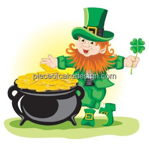 1/4 Sheet St. Patrick's Day Leprechaun Gold Edible Cake/Cupcake Topper