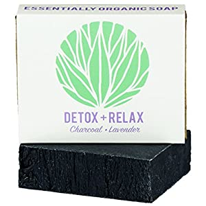 Charcoal Lavender Essential Oil Soap Bar | Certified Organic Ingredients, Vegan, GMO Free | Face, Shave, & Body Wash for Acne, Eczema, Blackheads, Rosacea, Psoriasis