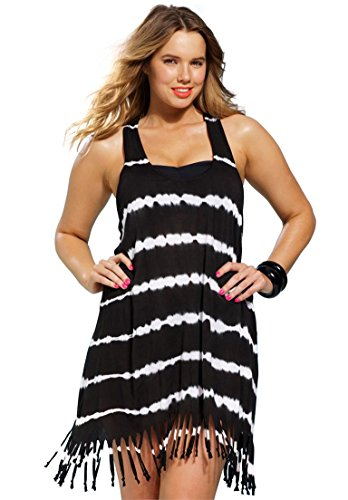 Roamans Women's Plus Size Fringed Tie-Dye Swim Coverup Black White,22/24