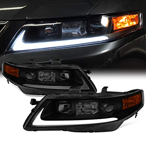 Fits 2004-2008 Acura TSX CL9 LED Tube Projector Front Black Smoked Headlights Headlamps Pair