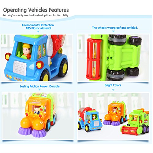 Coolecool Push and Go Pull Back Vehicles Friction Powered Cars for Baby Toys 18