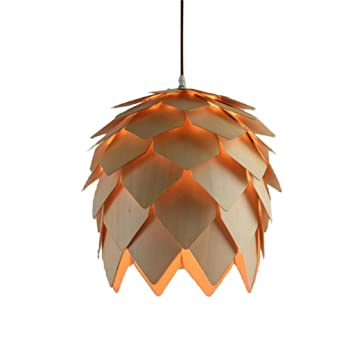 Modern designer style layered wood artichoke ceiling pendant light modern designer style layered wood artichoke ceiling pendant light shade 25cm aloadofball Image collections