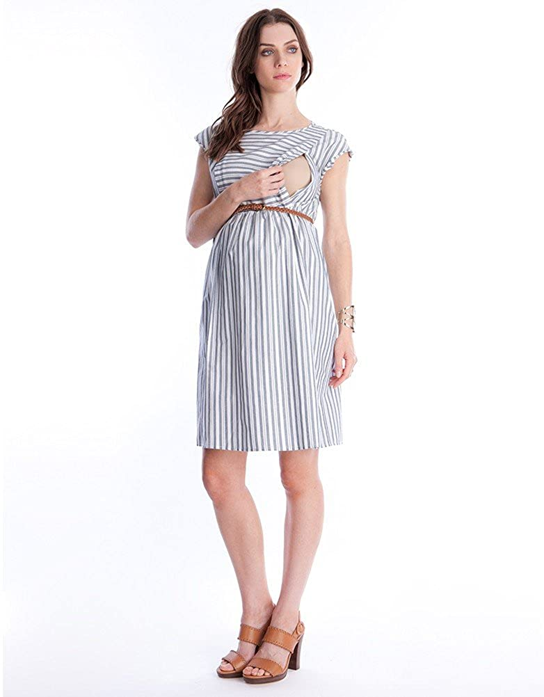 6fbd5e22d8074 Amazon.com: Seraphine Women's Cotton Stripe Maternity & Nursing Dress: Baby