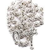 White Zircon Crystals Beads Rosary Catholic Necklace Miraculous Medal & Crucifix