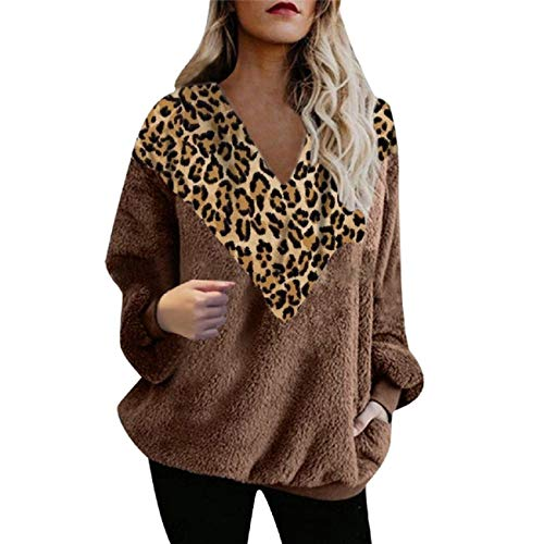Tsmile Women Long Sleeve Sweater Round V-Neck Warm Solid Fuzzy Fluffy Fleece Fit Pullover Winter Tops Sweatshirt