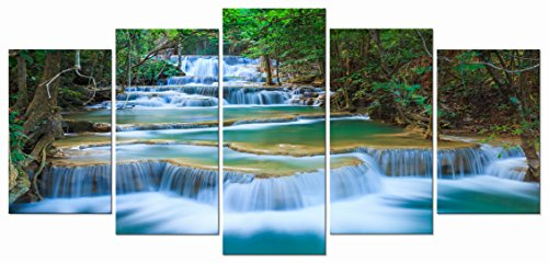 Wieco Art Peaceful Waterfall Modern 5 Piece Stretched and Framed Artwork Giclee Canvas Prints Green Landscape Pictures Paintings on Canvas Wall Art for Living Room Bedroom Home Decorations (Print Canvas Art Deco)