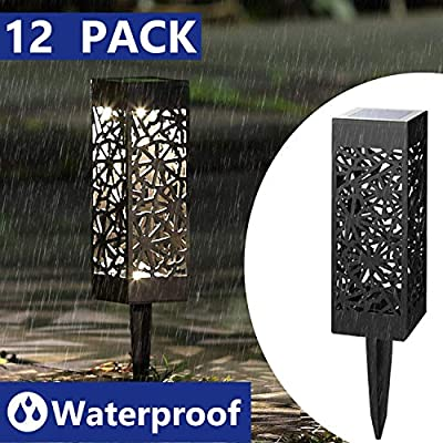 LEVE Solar Powered Garden Lights LED Outdoor Path Lights Automatic Landscape Spotlight with Spikes