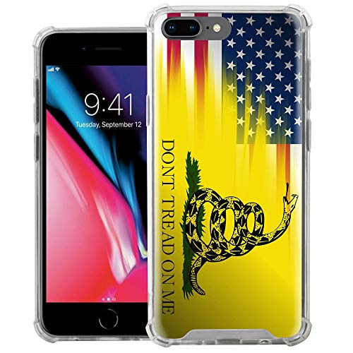 CasesOnDeck Fitted Case Compatible with [Apple iPhone 7 Plus/iPhone 8 Plus] Shock Absorption Bumper Cover Soft TPU Bumper Edges(Dont Tread On Me)