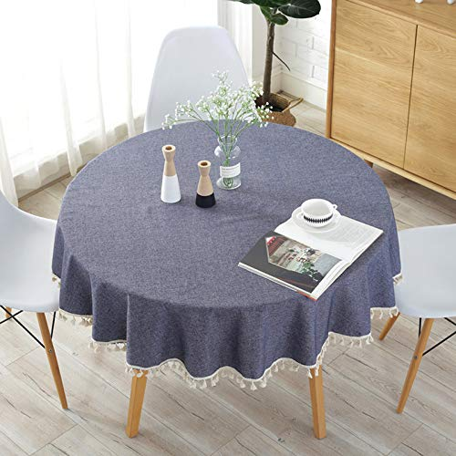Elome Washable Cotton Tassel Linen Fabric Vintage Navy Damask Pattern Decorative Macrame Lace Round Tablecloth Dinner Picnic Table Cloth Home Decorative Table Cover Assorted Size 59 Inch Diameter