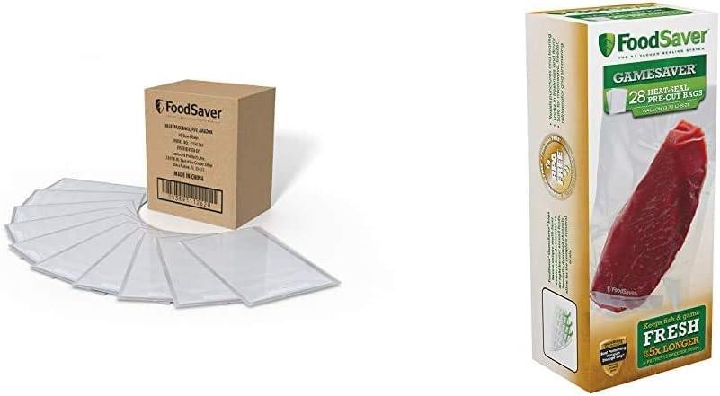FoodSaver 1-Quart Vacuum Sealer, Bags, 90 Count   BPA-Free, Commercial Grade for Food Storage and Sous Vide & 1-Gallon GameSaver Heat-Seal Pre-Cut Bags, 28 Count