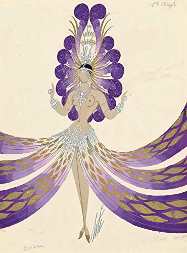 Berkin Arts Erte Giclee Canvas Print Paintings Poster Reproduction(Femme Aux Plumes) Large Size28.9 x 39 - Poster Print Art Inch 39