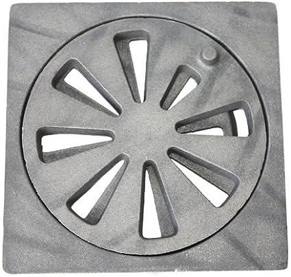 Rejilla de hierro fundido redonda, diámetro de 190 mm, incluye base rectangular, 25 mm de grosor de material, 210 x 210 mm (ancho x profundidad).