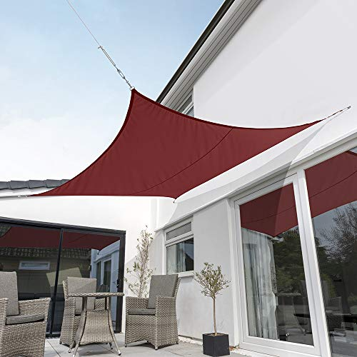 Kookaburra Waterproof Sun Sail Shade Wine Burgundy – 17ft 9 Square