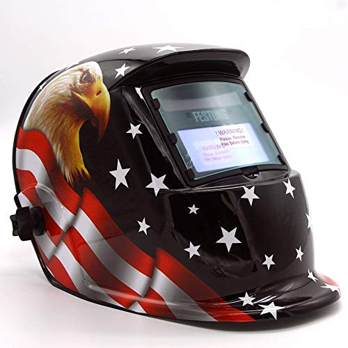 FFXENG Solar Power Auto Darkening Welding Helmet MEGA Designed with 2 Arc Sensors & Two Shade Ranges 5-8/9-13 with Grinding Feature Extra Lens Covers Good for TIG MIG MMA Plasma