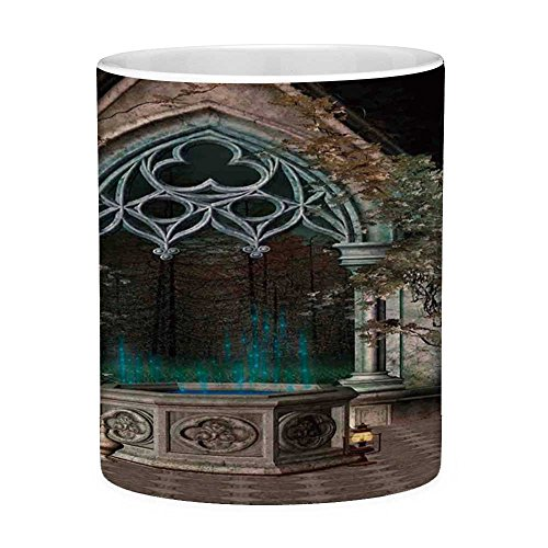 Funny Coffee Mug with Quote Gothic 11 Ounces Funny Coffee Mug Mystical Patio with Enchanted Wishing Well Ivy on Antique Gateway to Magical Forest Grey Teal
