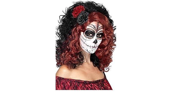 Peluca rizada con rosas Cabello español negro-rojo Cabellera larga mexicana Bisoñé Día de los muertos Pelo La Catrina Melena latina Halloween: Amazon.es: ...