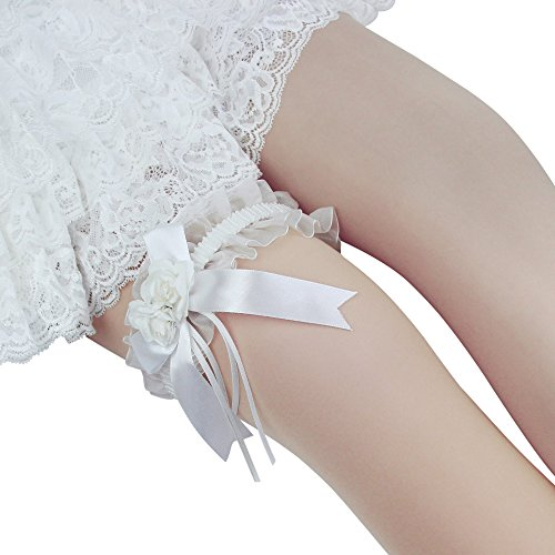 K.T. FANCY Women's Wedding Bridal Lace Garter Keepsake Toss Tradition Vintage Leg Ring Satin Bow Stretch Plus Size (Ivory-B)